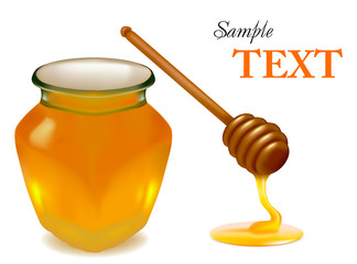 Background with honey and wood stick. Vector illustration.