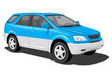 Vector isolated blue sports utility vehicle