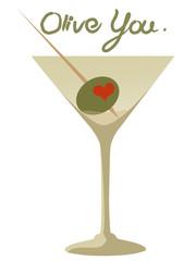 """Olive You"" Heart Olive Martini"
