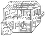 Dwelling House - Black and White Cartoon illustration poster