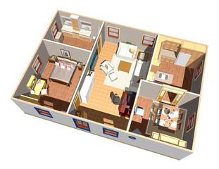 Casa Interno-House Interior-3D-3