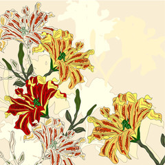 vector background with bright flowers