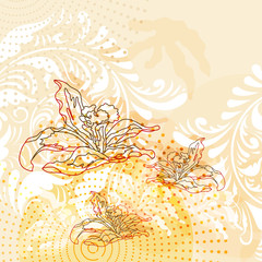 vector modern grunge background with lilies