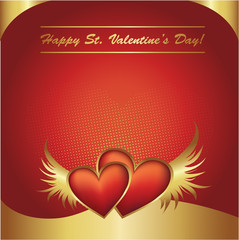 Valentine's Day red and golden hearts vector postcard.