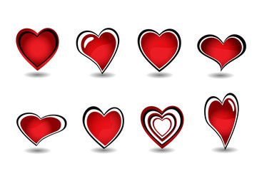 Beautiful red heart element set vector
