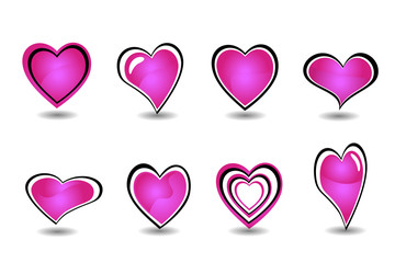Beautiful pink heart element set vector