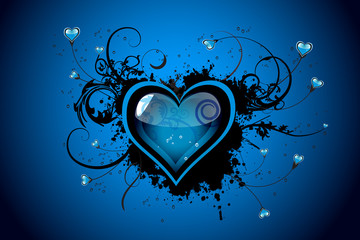 Beautiful blue floral Valentine´s day vector