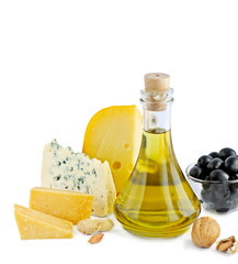 Cheese and olive oil isolated