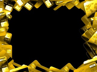gold credit cards black background frame