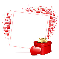 Valentine's day card vector background with heart and gift