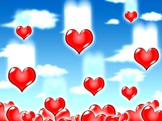 love hearts blue sky