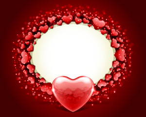 Valentine's day frame vector background with heart