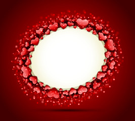 Valentine's day frame vector background with hearts