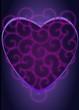 kompozycja w kształcie serca w kolorze purpury i granatu