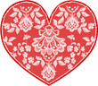Red fine lace heart with floral pattern. Vector illustration.