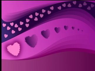 serca w kolorze purpury i różu