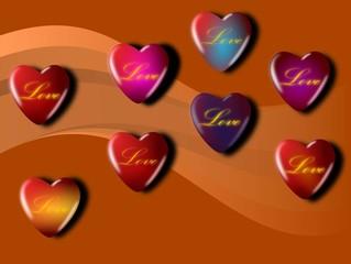 różnokolorowe serca z napisami love miłość