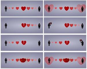 symboliczne scenki związane z uczuciami
