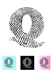 Fingerprint Alphabet Letter Q