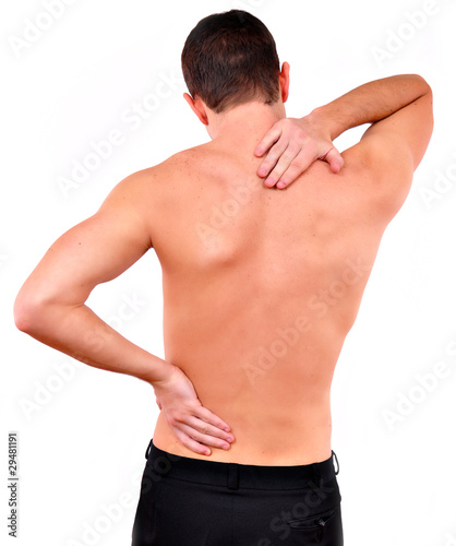 young caucasian man with pain in a back isolated on white