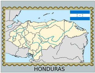 Honduras national emblem map coat flag business background
