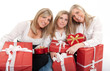Three sisters with presents