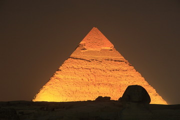 illuminated Giza Pyramid at night