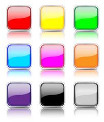 Button Set rechteckig bunt gespiegelt
