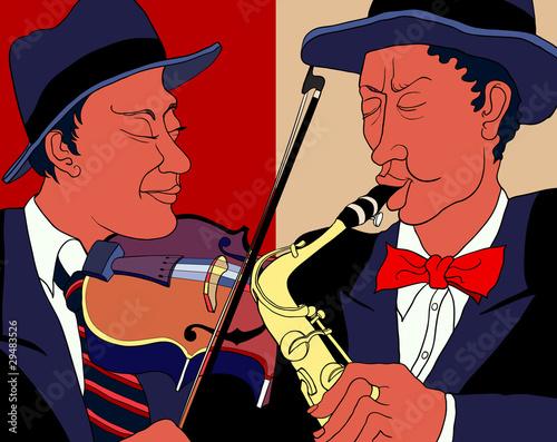 ilustracji wektorowych z dwóch muzyków