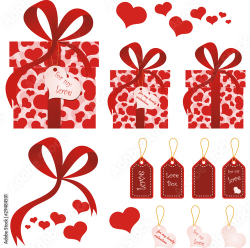 Happy Valentine's day gift boxes and postcards