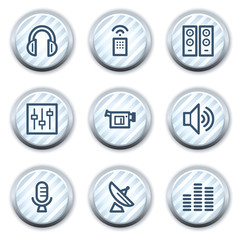 Media web icons, stripped light blue circle buttons