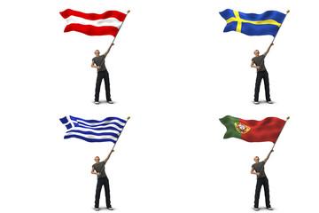 Bandiere austria svezia grecia portogallo