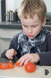 Boy cutting tomato
