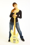 young woman with a 5 strings bass poster