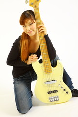 young woman with a 5 strings bass