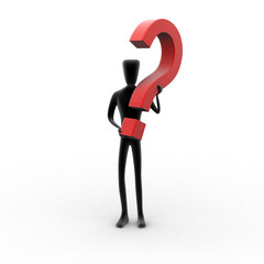 3d human holding a red question mark