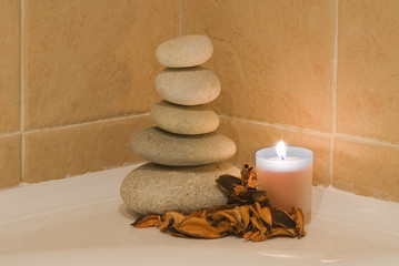 Zen balance on the bath.