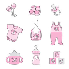Set of baby elements - pink color for girls