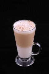 coffee latte macchiato with cinnamon