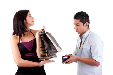 woman with shopping bags and man opened his wallet