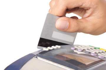 paying with credit card machine