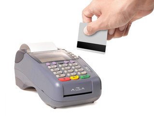 gesture of hand using credit card machine
