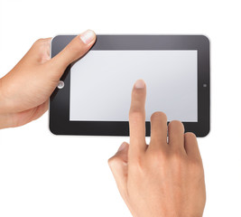 hand using touchpad pc, isolated over white
