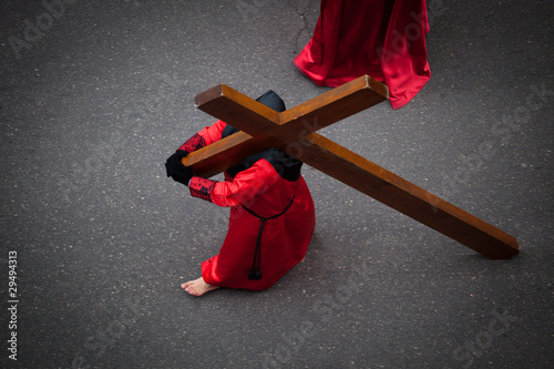 Nazareno carrying the Holy Cross in Holy Week. Valladolid