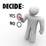 Decide Yes or No - Man at Touch Screen poster