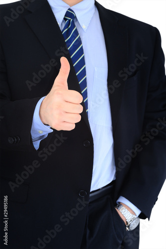 Thumb's up by a businessman. Approval, Good Work!