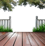 wooden terrace and white background