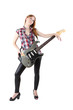 Cute girl with electric guitar isolated