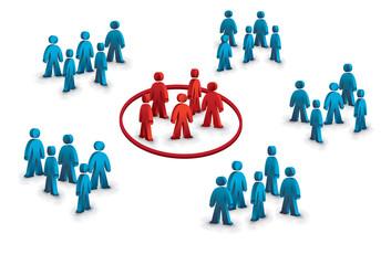 six groups of people simbolizing the target group