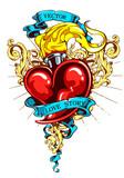 Burning heart with ribbon and flourish pattern